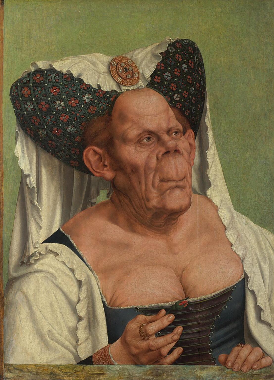 The Ugly Dutchess by Quentin Matsys, c. 1513. Matsys was an exception artist, and didn't paint the dutchess weird.