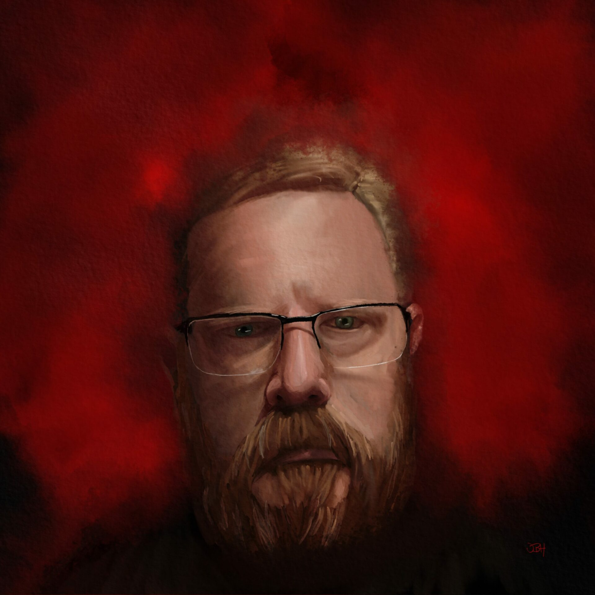 A moody self portrait painting in watercolour