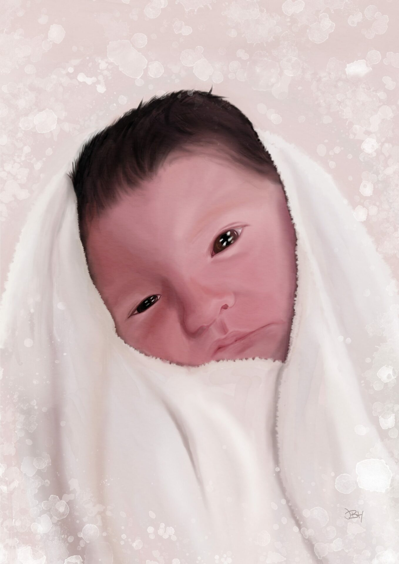 A painting of a new born baby wrapped up in a blanket