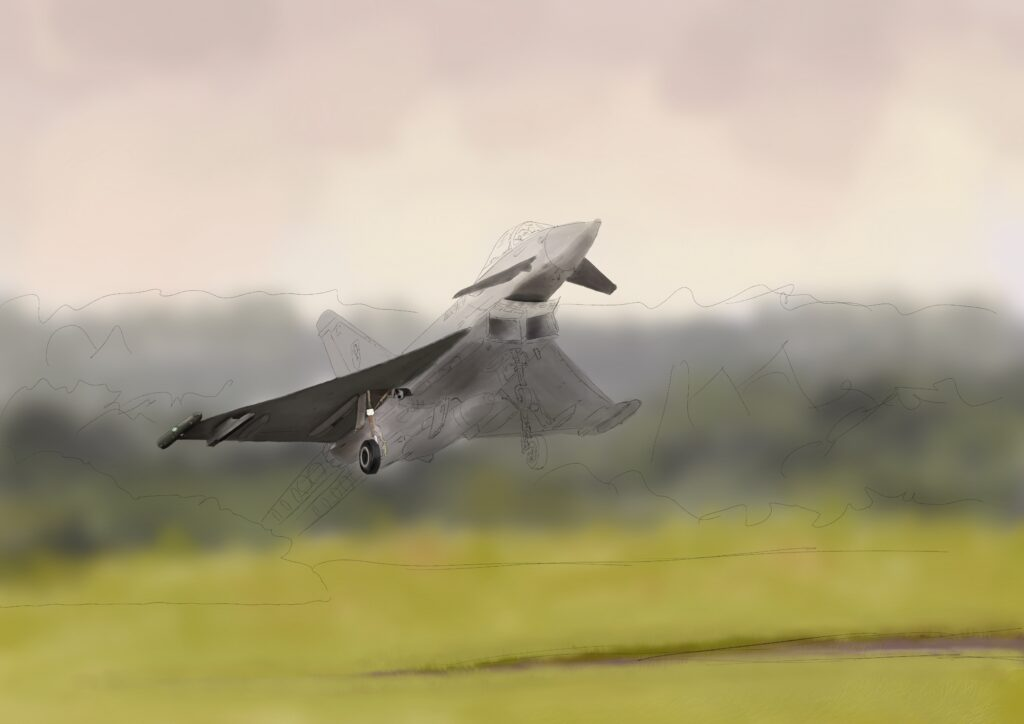 Diary of a painting - Those Magnificent Men   Eurofighter Takeoff